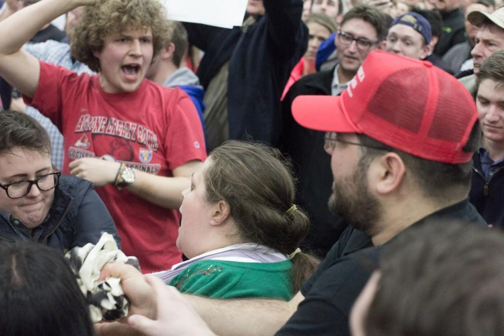 Kate+Hall+%28far+left%29+filed+a+criminal+complaint+against+Heimbach+on+Friday%2C+March+4+for+alleged+assault+at+Donald+Trump%27s+rally+on+Tuesday.+Photo+By%3A+Nathan+Roberson