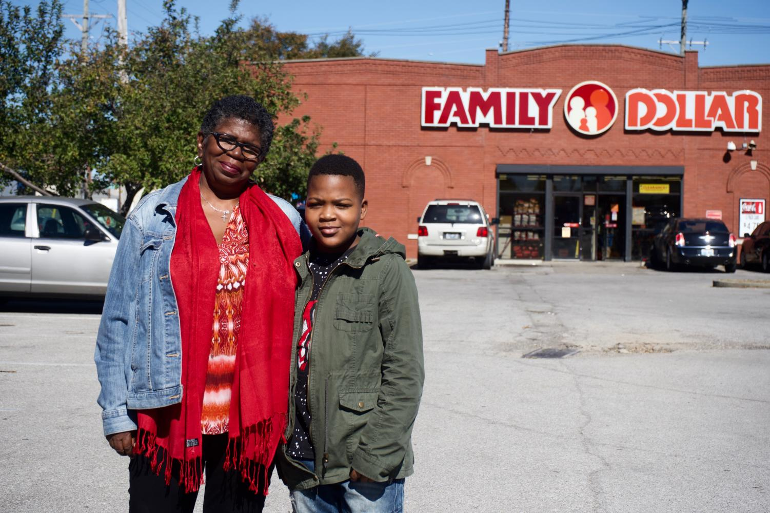 On Oct. 8, Jackie Floyd stands with her grandson,Shaun Cooksey, outside of a Family Dollar on 15th Street and Market Street that attempted to obtain a liquor license.