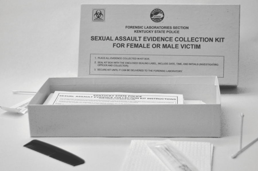 This is an open rape kit. The contents are shown beside it.