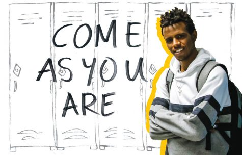 "A photo illustration of a young man with a backpack. Behind him is an illustration of school lockers. The words ""Come As You Are"" are to his right."