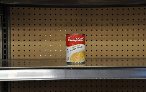 The last can of chicken noodle soup at the Holiday Manor Kroger.