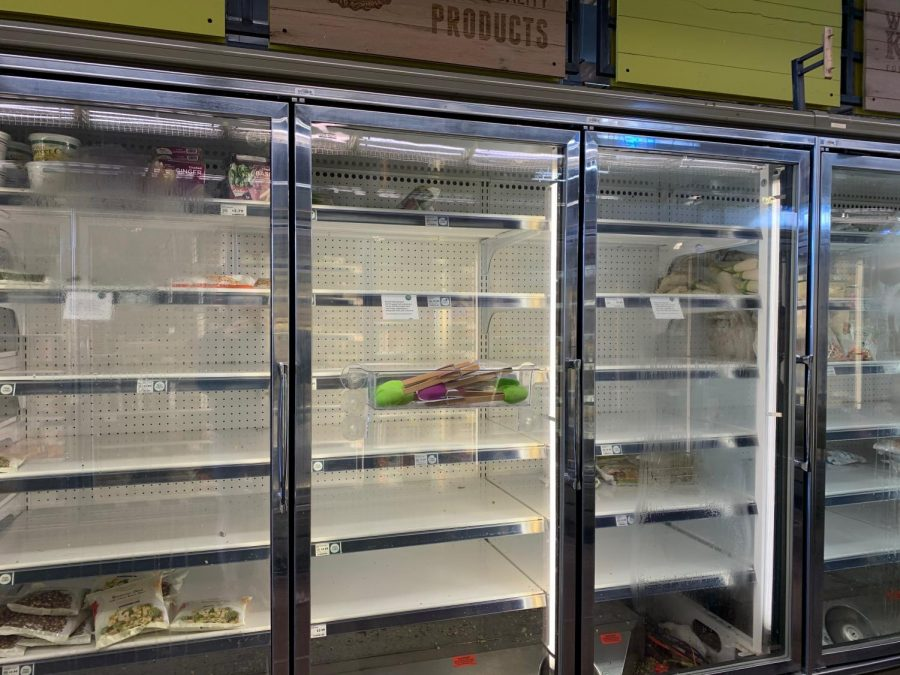 Frozen vegetable section at Whole Foods.