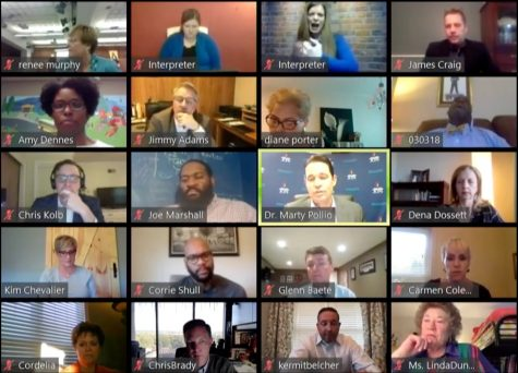 JCPS Board of Education members meet virtually via Zoom for an emergency meeting. Screen captured by Sylvia Cassidy.