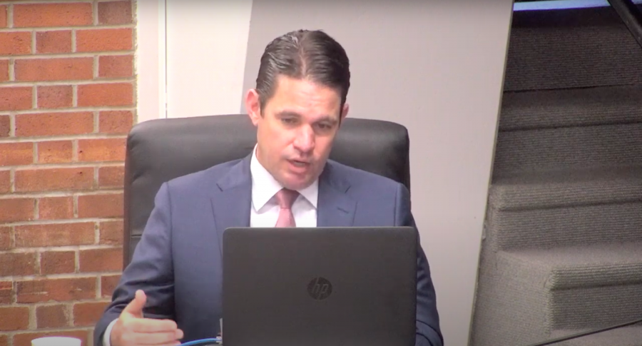 JCPS Superintendent Dr. Marty Pollio addresses local media and details JCPS' plans for graduating seniors. screen capture by Reece Gunther